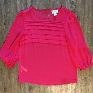 NWOT Pink Sheer Loft Blouse Size XS